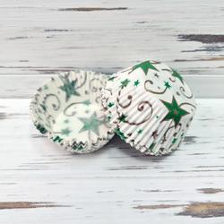 Форма бумажная для кексов Рождественская Звезда 50х30 50 шт(золотисто-зеленая)