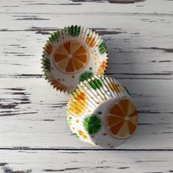 Форма бумажная для кексов Цитрусовые №2 50х30 50 шт(оранжево-салатовый)