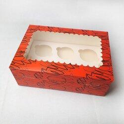 Упаковка на 6 кексів з віконцем 255х180х90 Червона