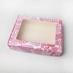Коробка для печива, пряників з віконцем 192х148х40 мм Сердця