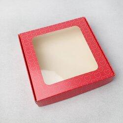 Коробка для пряників, печива з віконцем 150х150х35 мм Рожеві серця
