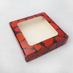 Коробка для пряников, печенья с окошком 150х150х35 мм Сердца темный фон