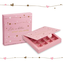 Коробка для конфет 185х185х42 на 16 штук №11 Розовая с тиснением