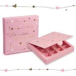 Коробка для цукерок 185х185х42 на 16 штук №11 Рожева з тисненням