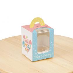 Коробка на 1 кекс 82х82х100 с ручкой Сегодня твой день
