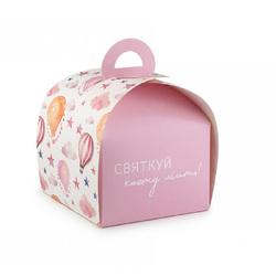 Коробка Лепесток №6 для тортов, чизкейков, пирожных 110*110*110мм Розовая однотонная