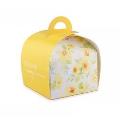 Коробка Пелюсток №7 для тортів, чізкейків, тістечок 110 * 110 * 110мм Жовта однотонна