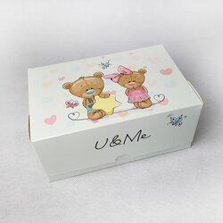 Коробка-контейнер для тортов, чизкейков, пирожных Медвежата 180*120*80 мм