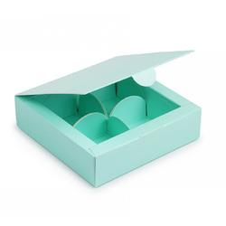 Коробка для цукерок 112х112х30 на 4 штуки тіффані