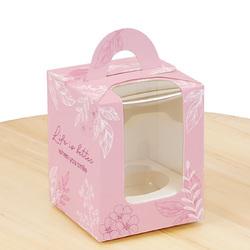 Коробка на 1 кекс 82х82х100 з ручкою Весна рожева