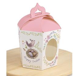 Коробка великодня 145х165х160 мм №4 Рожева пташка