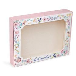 Коробка для пряників з віконцем 200х150х30 мм Рожева з пташкою