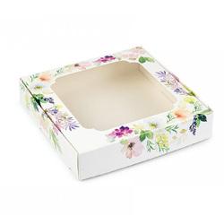 Коробка для сладостей с окошком 150х150х30 мм Цветы