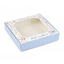 Коробка для солодощів з віконцем 150х150х30 мм Блакитна з пташкою