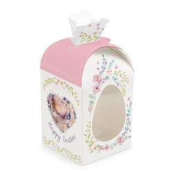Коробка великодня 110х110х140 мм №6 Рожева пташка (з куполом висота 190 мм)