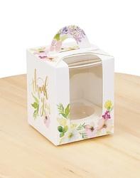Коробка на 1 кекс 82х82х100 з ручкою Квіти