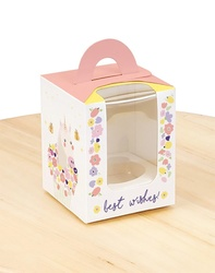 Коробка на 1 кекс 82х82х100 с ручкой Единорог/Лама
