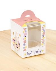 Коробка на 1 кекс 82х82х100 з ручкою Єдиноріг/Лама