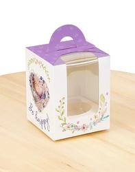 Коробка на 1 кекс 82х82х100 с ручкой Фиолетовая с птичкой