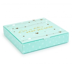 Коробка для цукерок 185х185х42 на 16 штук №12 Тіффані з тисненням