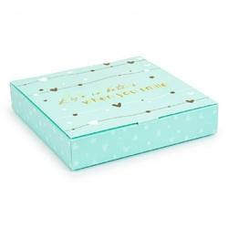 Коробка для конфет 185х185х42 на 16 штук №12 Тиффани с тиснением