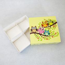 Универсальна коробка Совы 160х160х55 мм для печенья, зефира, конфет, макаронсов и прочего, тип пен