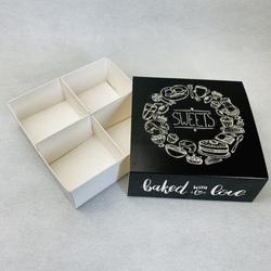 Універсальна коробка Чорна 160х160х55 мм для печива. зефіру. цукерок. макаронс та іншого. тип пенал