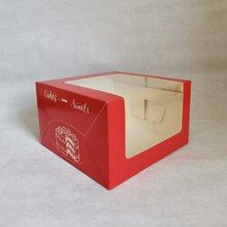 Коробка для муссовых тортов 250х250х150 Красная