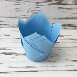 Форма бумажная для кексов Тюльпан нежно-голубой, 50*80 мм 25 шт