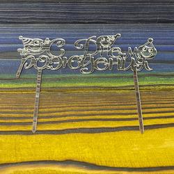 Топпер акриловый С Днем Рождения №3 серебряный