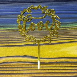 Топпер акриловый №2 Love золотой