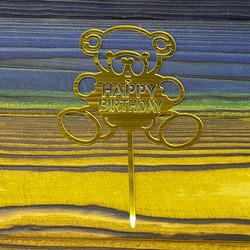 Топпер акриловый №4 Happy Birthday золотой
