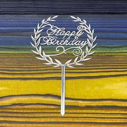 Топпер акриловый №7 Happy Birthday серебряный