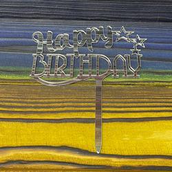 Топпер акриловый №10 Happy Birthday серебряный