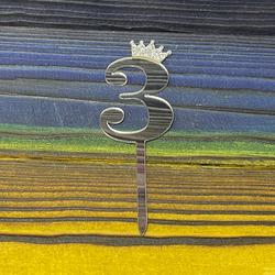 Топпер акриловий цифра 3 срібна