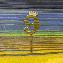 Топпер акриловий цифра 9 золота