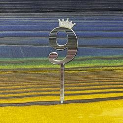 Топпер акриловий цифра 9 срібна