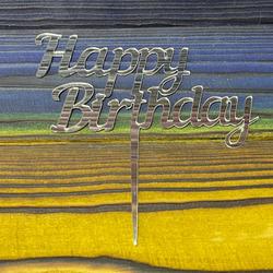 Топпер акриловий №12 Happy Birthday срібний