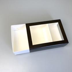 Коробка для макаронс 115х155х50 з вікном Чорна (на 12 шт)