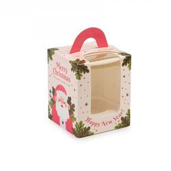 Коробка на 1 кекс 82х82х100 с ручкой Санта