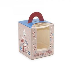 Коробка на 1 кекс 82х82х100 с ручкой Подарки