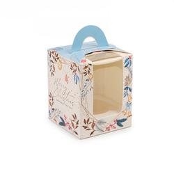 Коробка на 1 кекс 82х82х100 с ручкой Рождество
