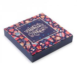 Коробка для конфет НГ 185х185х42 на 16 штук №13 Новогодние игрушки