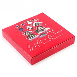 Коробка для конфет НГ 185х185х42 на 16 штук №14 Новогодние домики