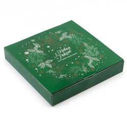 Коробка для конфет НГ 185х185х42 на 16 штук №15 Зеленый веночек