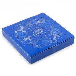 Коробка для конфет НГ 185х185х42 на 16 штук №16 Синий веночек