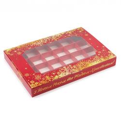 Коробка для конфет 270х185х30 на 24 шт Новый Год с окном
