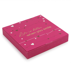 Коробка для конфет 185х185х30 на 16 штук №13 Малиновая с тиснением
