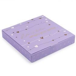 Коробка для конфет 185х185х30 на 16 штук №14 Лиловая с тиснением