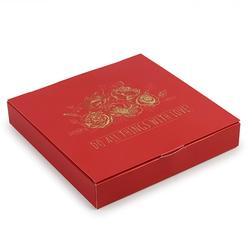 Коробка для конфет 185х185х30 на 16 штук красная с цветами